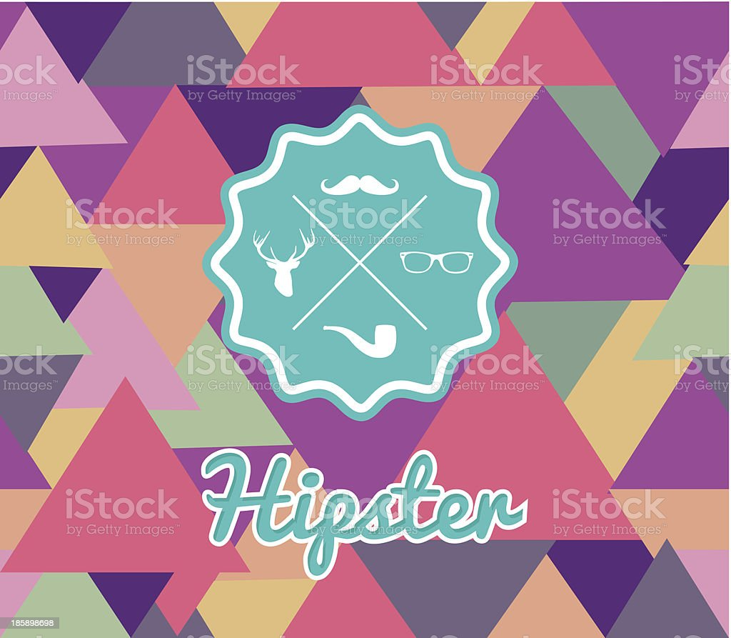 Unusual vintage Hipster badge icons elements seamless pattern background. royalty-free stock vector art