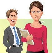 Vector illustration of a man shouting rude words to a young woman walking by. The woman is ignoring it and is looking angry, disgusted and frustrated. Concept for workplace harassment, cat-calling, bullying, verbal sexual harassment and sex discrimination.