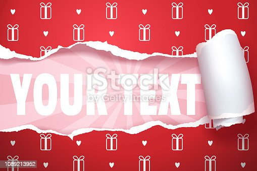 istock Unwrapped gift with copy space, separate to layers easy to edit 1089213952