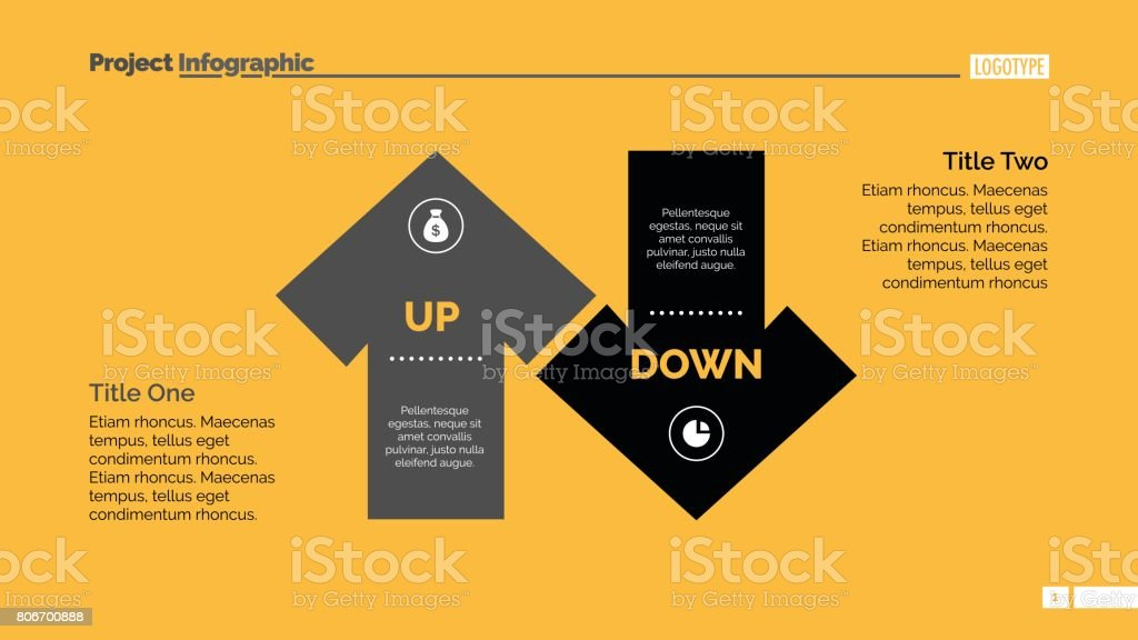 Up and Down Arrow Diagram Slide Template vector art illustration