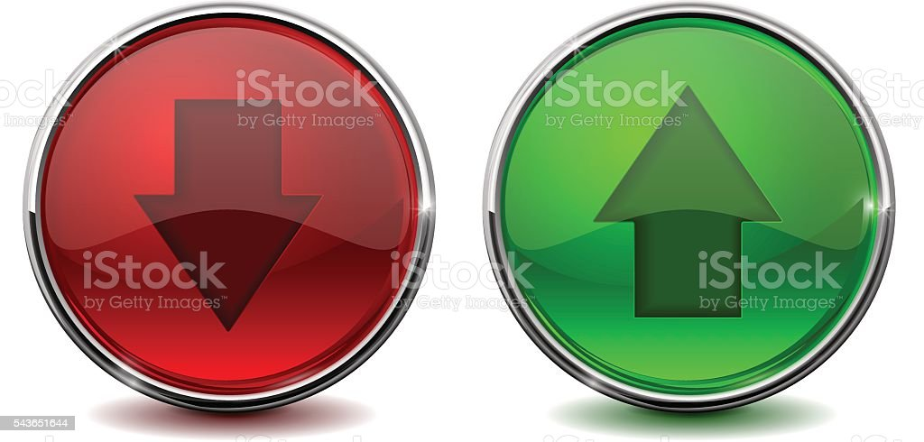 Up And Down Arrow Green And Red Buttons Web Icons Stock Illustration -  Download Image Now