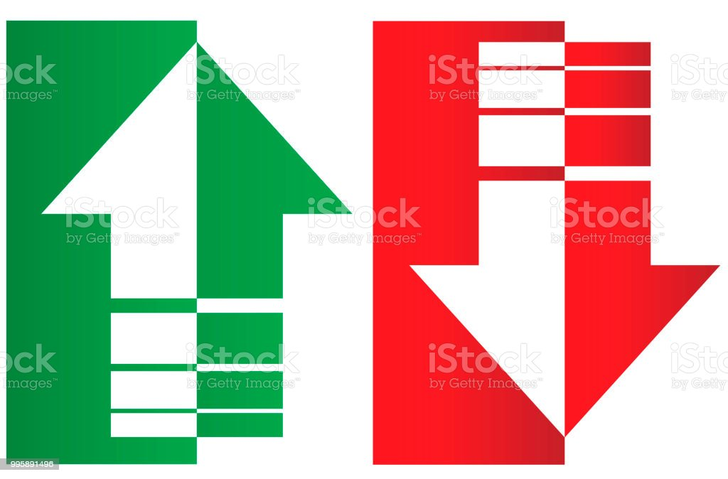 Up and down arrows. Upward, downward arrows in green and red from thin to thick and divided into two parts isolated on white background, set of two. Flat style eps 10 vector illustration.
