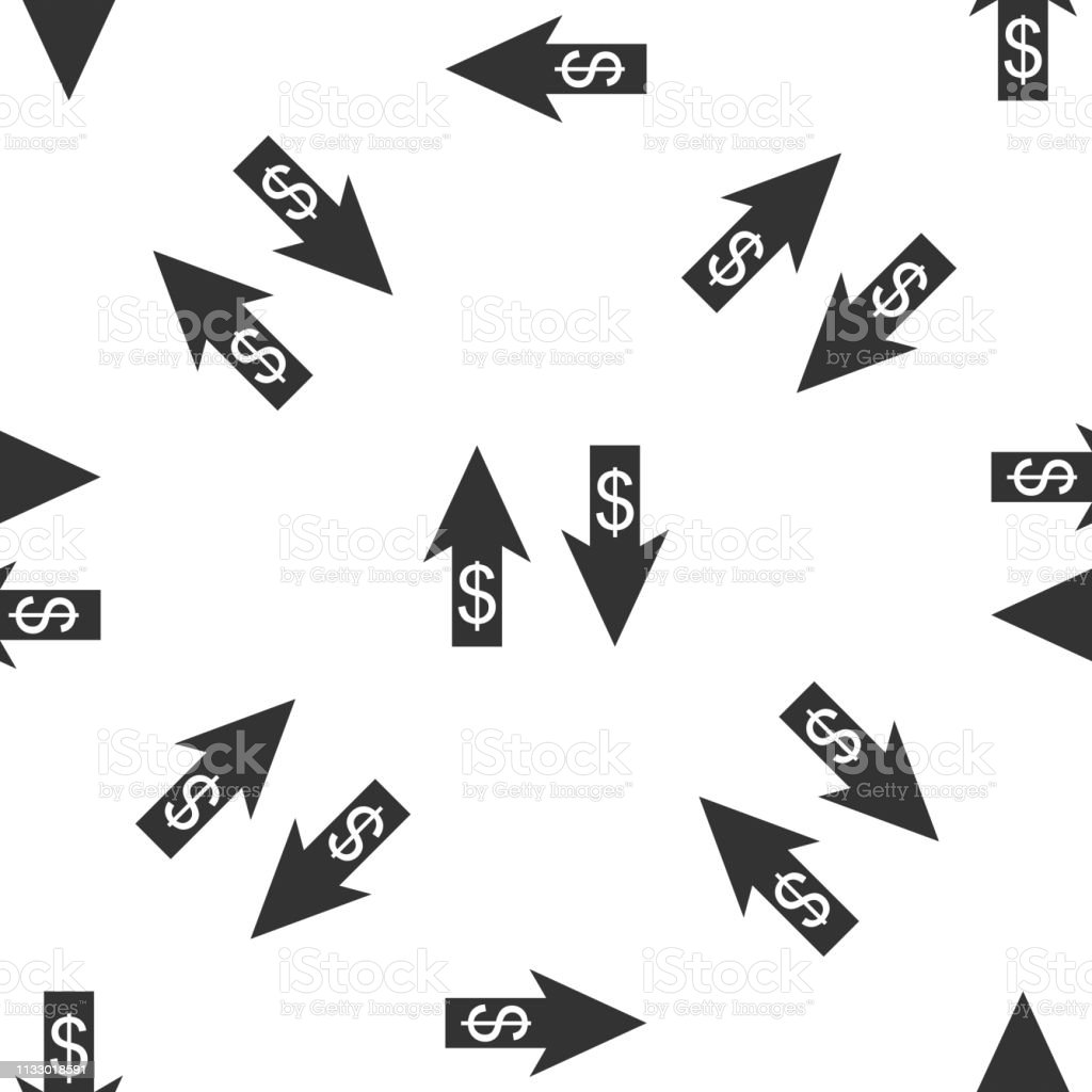Up And Down Arrows With Dollar Symbol Icon Isolated Seamless