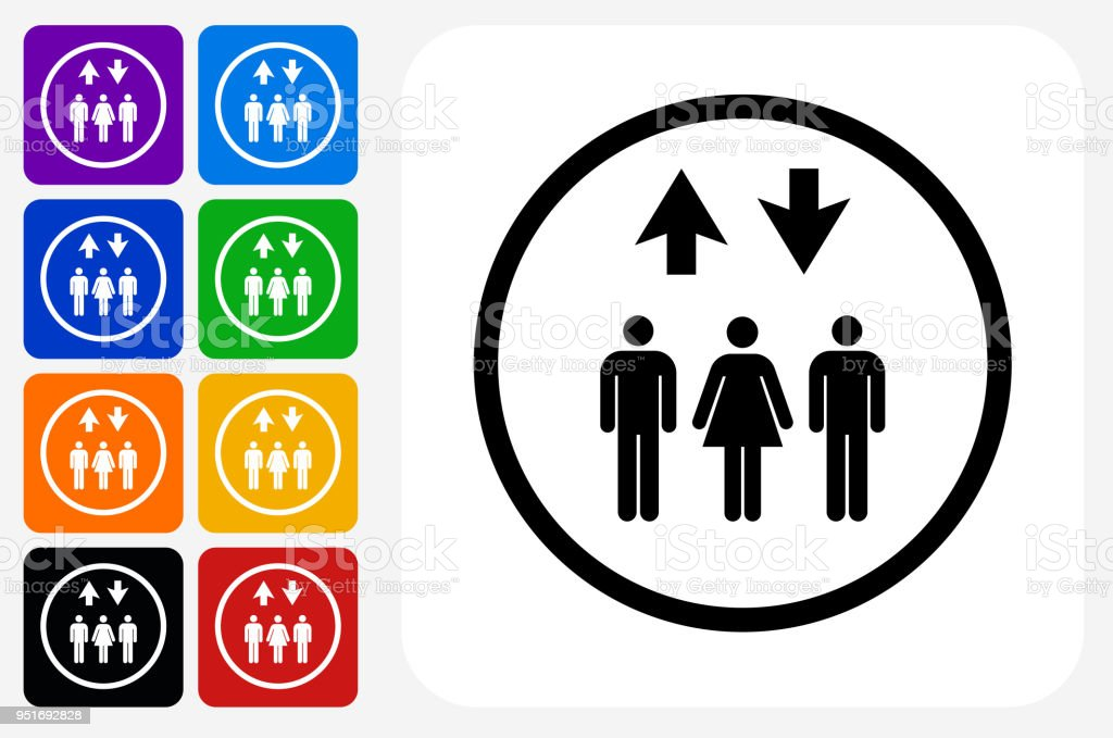 Up And Down Group Icon Square Button Set Stock Vector Art More