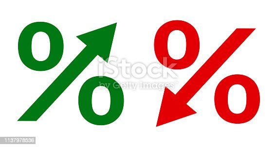 Up and down percent icon - stock vector