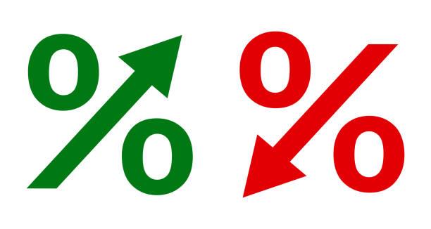 illustrazioni stock, clip art, cartoni animati e icone di tendenza di up and down percent icon - stock vector - segno meno