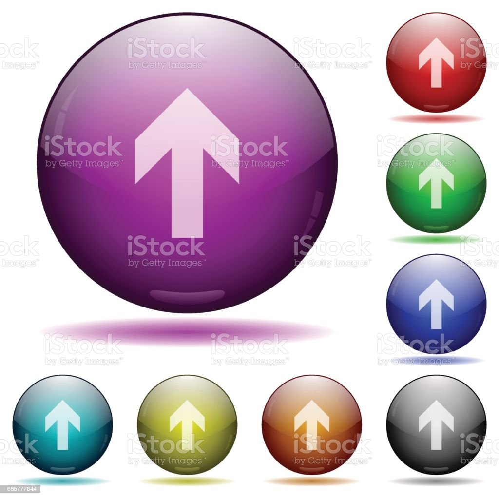 Up arrow glass sphere buttons royalty-free up arrow glass sphere buttons stock vector art & more images of aiming