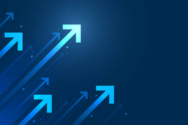 Up arrows on blue background illustration. Up arrows on blue background illustration, copy space composition, business growth concept. growth stock illustrations