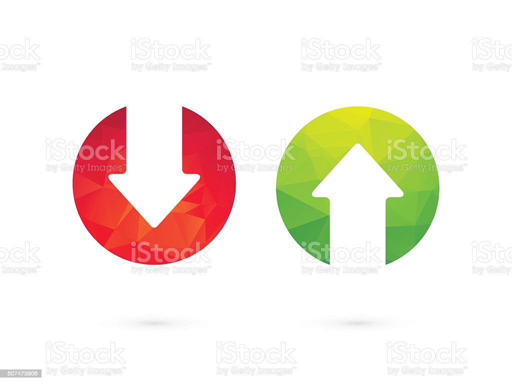 Up down arrows red green vector art illustration
