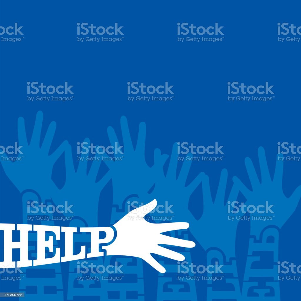 up hands for help vector art illustration