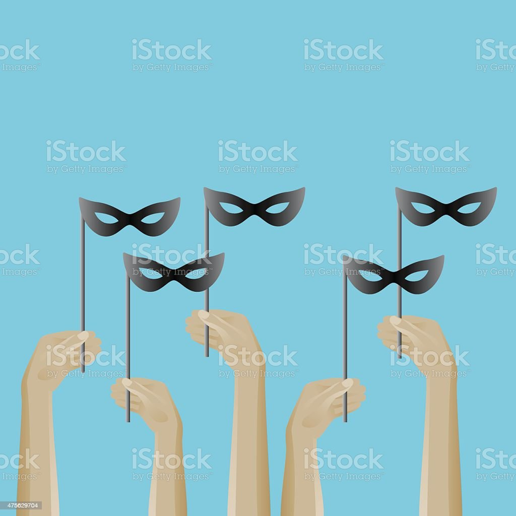 Up hands icon with masks vector art illustration
