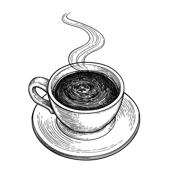 Сup of hot chocolate or coffee. Cup of hot chocolate or coffee. Ink sketch isolated on white background. Hand drawn vector illustration. Retro style. etching stock illustrations