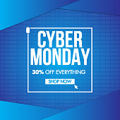 Up To 30% discount offer for Cyber Monday Sale on blue binary code background.