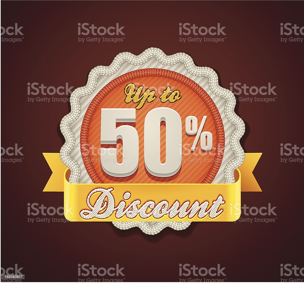 Up to 50% discount badge royalty-free stock vector art