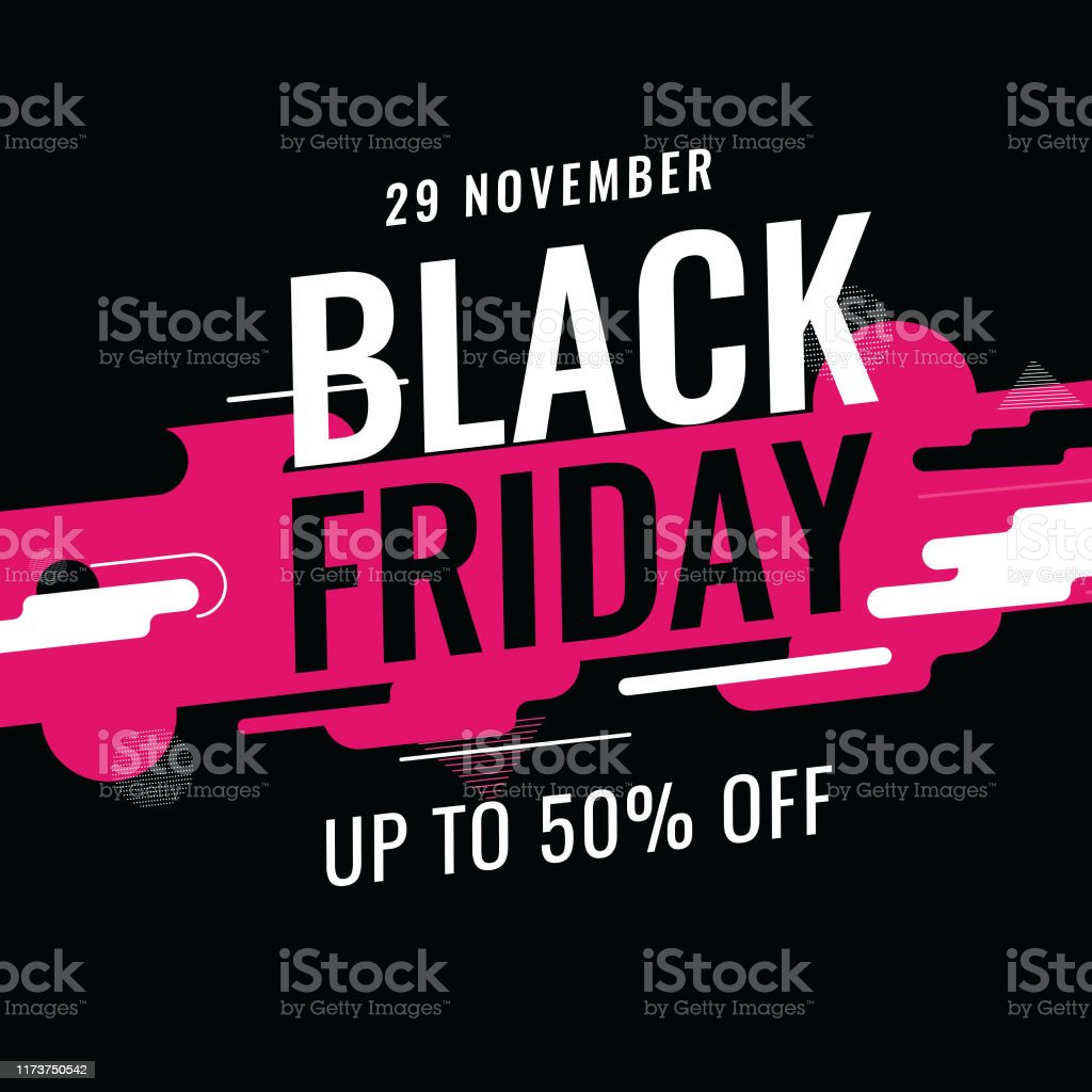 Up To 50% offer for Black Friday text on abstract dynamic geometric background for Advertising concept. - Royalty-free Abstrato arte vetorial