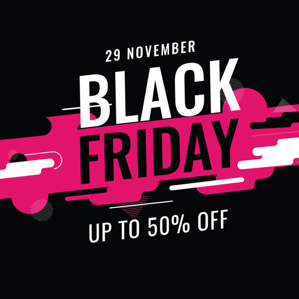 Up To 50% offer for Black Friday text on abstract dynamic geometric background for Advertising concept. Up To 50% offer for Black Friday text on abstract dynamic geometric background for Advertising concept. black friday sale stock illustrations
