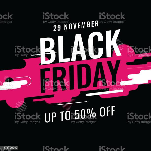 Up To 50 Offer For Black Friday Text On Abstract Dynamic Geometric Background For Advertising Concept - Arte vetorial de stock e mais imagens de Abstrato