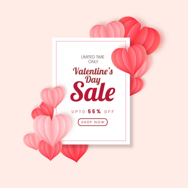 Up To 55% Off for Valentine's Day Sale Poster Design Decorated with Red and Pink Origami Paper Hearts. vector art illustration