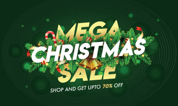 Up To 70% off for Mega Christmas Sale text decorated with jingle bell, pine leaves, baubles and lighting garland on green bokeh background for Advertising concept. vector art illustration