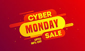 Up To 80% offer for Cyber Monday Sale banner or poster design with abstract elements.