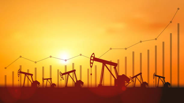 Up trend line graph and Silhouette Oil pumps at oil field with sunset sky background Up trend line graph and Silhouette Oil pumps at oil field with sunset sky background oil stock illustrations