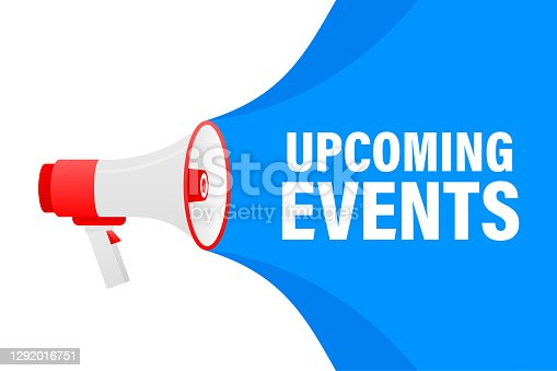 istock Upcoming events megaphone blue banner in 3D style on white background. Vector illustration. 1292016751