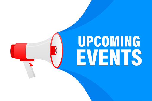 Upcoming events megaphone blue banner in 3D style on white background. Vector illustration.