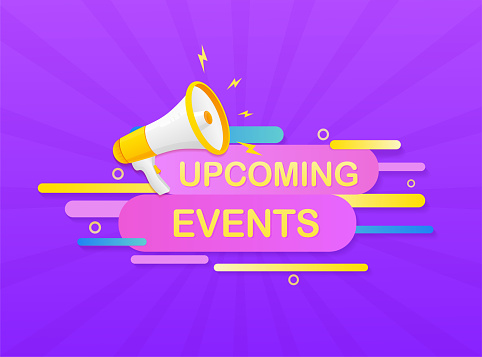 Upcoming events megaphone on white background for flyer design. Vector illustration in flat style.