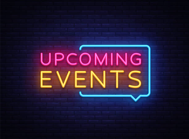 Upcoming Events neon signs vector. Upcoming Events design template neon sign, light banner, neon signboard, nightly bright advertising, light inscription. Vector illustration Upcoming Events neon signs vector. Upcoming Events design template neon sign, light banner, neon signboard, nightly bright advertising, light inscription. Vector illustration. event stock illustrations