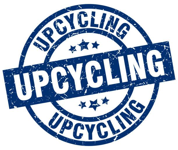 upcycling-blaue runde grunge-stempel - upcycling stock-grafiken, -clipart, -cartoons und -symbole