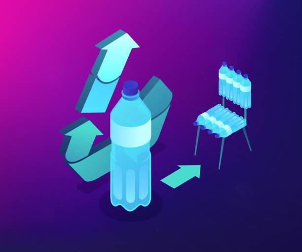 upcycling prozess isometric 3d concept illustration. - upcycling stock-grafiken, -clipart, -cartoons und -symbole