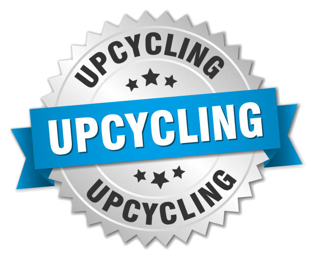 upcycling runde isolierte silberne ehrennadel - upcycling stock-grafiken, -clipart, -cartoons und -symbole