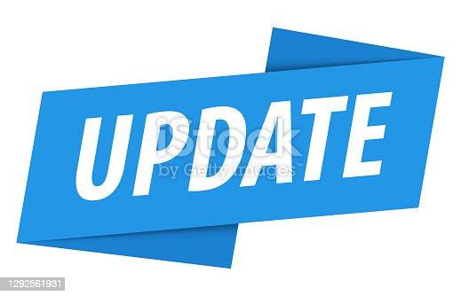 istock Update - Banner, Speech Bubble, Label, Ribbon Template. Vector Stock Illustration 1292561931