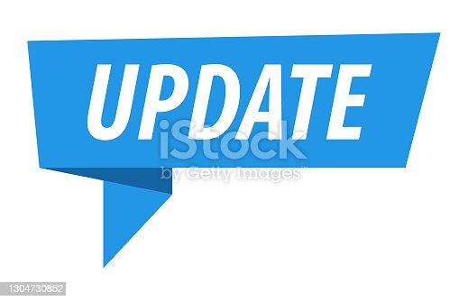 istock Update - Banner, Speech Bubble, Label, Ribbon Template. Vector Stock Illustration 1304730852