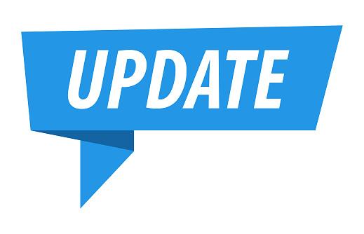 Update - Banner, Speech Bubble, Label, Ribbon Template. Vector Stock Illustration