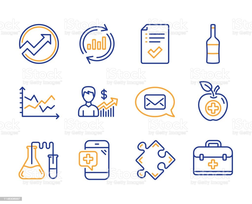 Update data, Medical food and Wine icons simple set. Medical phone,...