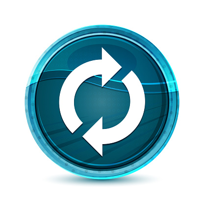 Update icon elegant glass blue round button vector design illustration