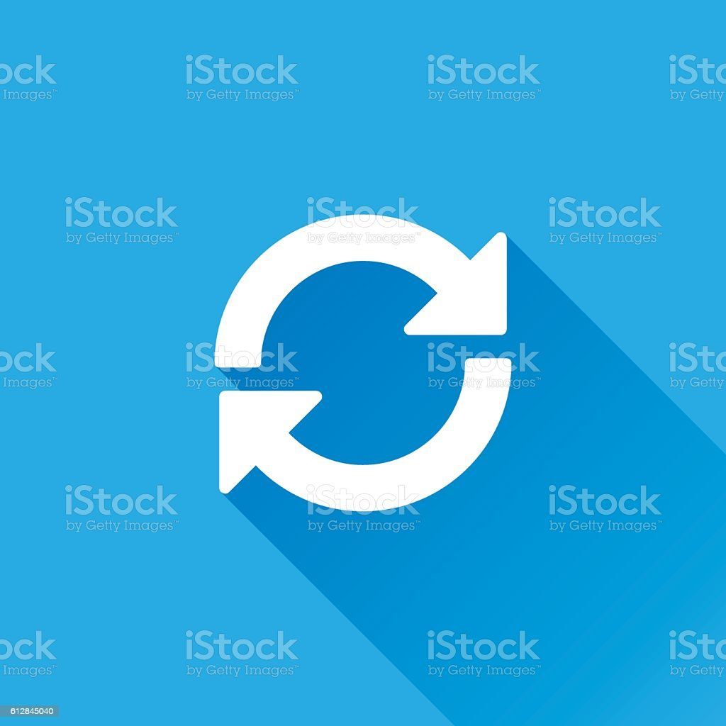 Update or Refresh Icon With Long Shadow vector art illustration