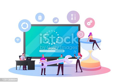 Update Software Application and Hardware Upgrade Technology Concept. Tiny Characters with Gadgets, Wrench and Hourglass at Huge Computer Screen with Updating Scale. Cartoon People Vector Illustration