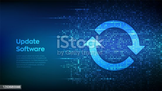 istock Update Software. Upgrade computer program version concept. Synchronization icons made with binary code. Digital binary data and streaming digital code. Matrix background with digits 1.0. Vector. 1253685566