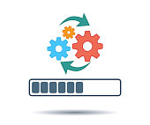 Update software, upgrade system Icon. Redesign task. Vector operation