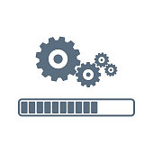 Update system icon vector. Loading process. Modern flat design vector illustration. Concept of upgrade application progress icon, for graphic and web design. Installation of application or software