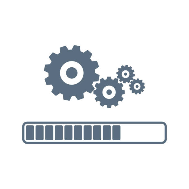 Update system icon vector. Loading process. Modern flat design vector illustration. Concept of upgrade application progress icon, for graphic and web design. Installation of application or software. Update system icon vector. Loading process. Modern flat design vector illustration. Concept of upgrade application progress icon, for graphic and web design. Installation of application or software gearshift stock illustrations