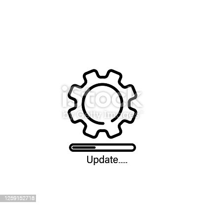Update system line icon. New operating system, sync, mobile and desktop application development. Vector on isolated white background. EPS 10.