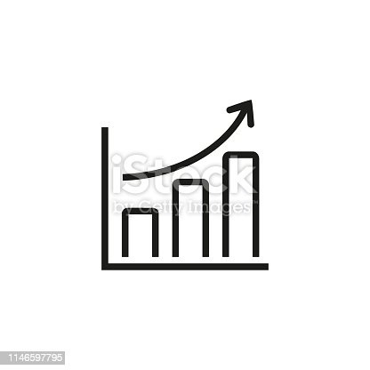 Upgrading line icon. Growth, arrow, graph. Achievement concept. Can be used for topics like finance, accounting, investment