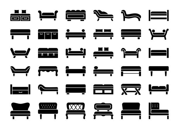 Upholstered Benches & Couches. Vector icon collection Upholstered Benches & Couches. Living room, bedroom, entrance & patio furniture. Different kinds of classic and modern settees. Lounges & daybeds. Front view. Vector icon collection. bedroom borders stock illustrations