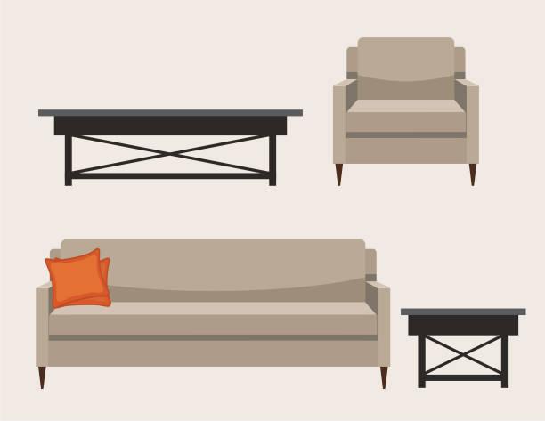 bildbanksillustrationer, clip art samt tecknat material och ikoner med stoppade living room möbler - soffa