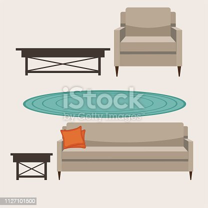Upholstered chair, sofa and end tables