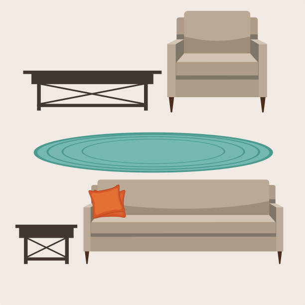 Upholstered Living Room Furniture vector art illustration