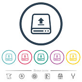 istock Upload from hard drive flat color icons in round outlines 1144790960